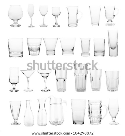 glasses collection isolated on a white - stock photo