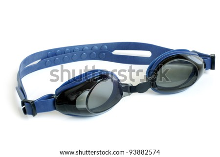 Glasses for swimming on a white background