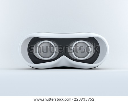 Glasses for virtual reality in 3D. Front view with screen off. - stock photo