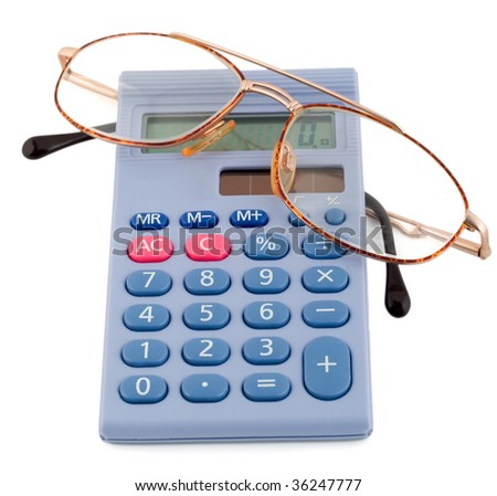 glasses golden in calculator isolated on white background. - stock photo