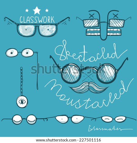 Glasses Hand Drawn Labels Collection. Vintage spectacles drawings and lettering. Raster variant. - stock photo