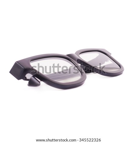 Glasses in a black plastic frame isolated over the white background - stock photo