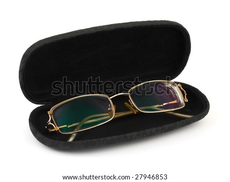 Glasses in case isolated on white background - stock photo