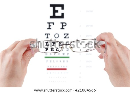 Glasses in hands, eye exam chart ophthalmologist isolated on white background - stock photo