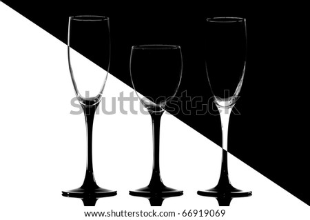 Glasses  isolated in a studio in black and white