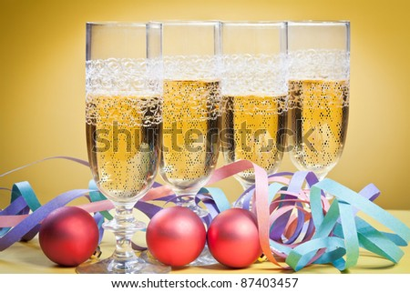 glasses of champagne at Christmas - stock photo