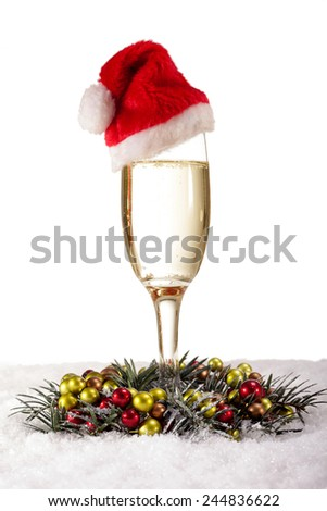 glasses of champagne gold and red pearls, Christmas concept - stock photo