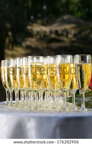 glasses of champagne on decorative festive table