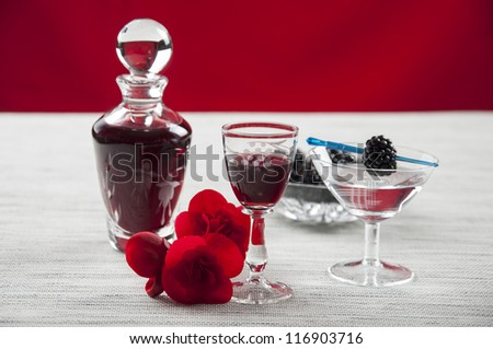 glasses of cordial, fruit and flower - stock photo