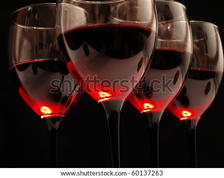 Glasses of excellent red wine