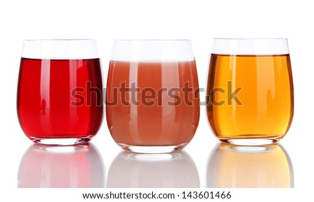 Glasses of fresh juice isolated on white