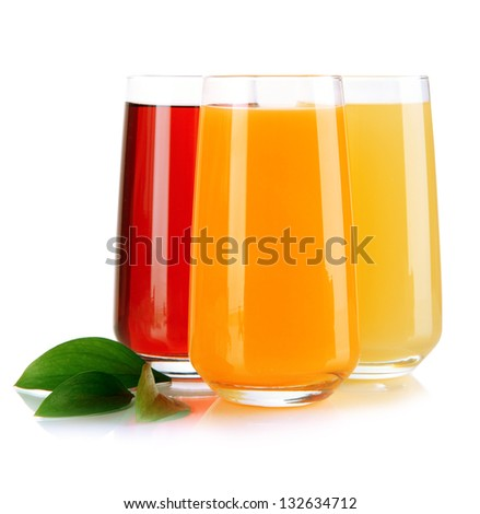 Glasses of juise and leafs isolated on white - stock photo