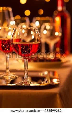 Glasses of rose wine - stock photo
