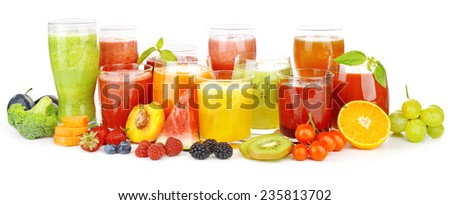 Glasses of tasty fresh juice, isolated on white - stock photo