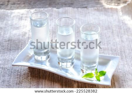 Glasses of vodka - stock photo