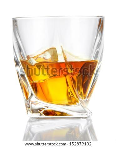 Glasses of whiskey, isolated on white   - stock photo