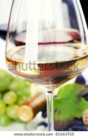 Glasses of white, red and rose wine and grapes close up - stock photo