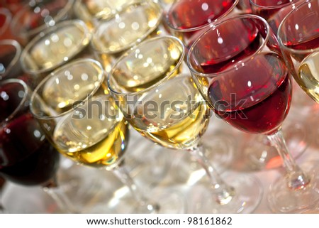 Glasses of wine on a buffet - stock photo