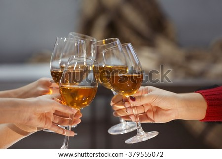 Glasses of wine on a cheerful holiday