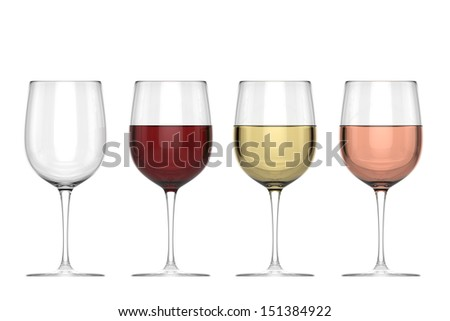 Glasses Of Wine - Set - stock photo