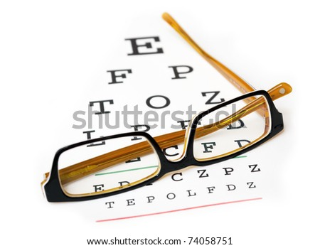 Glasses on a eye sight test chart. Isolated on white background. - stock photo