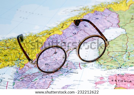 Glasses on a map of europe - Sweden