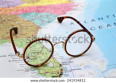Glasses on a map of USA - Florida  - stock photo