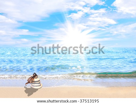 Glasses on stones on the beach - stock photo
