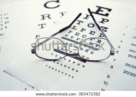 Glasses on test chart