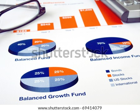 Glasses on the investment chart with calculator - stock photo