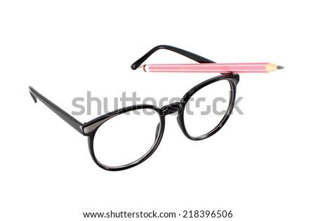 glasses on white background - stock photo