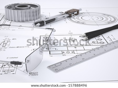 Glasses, ruler, compass, pencil and gear lie on the drawing. 3d render - stock photo