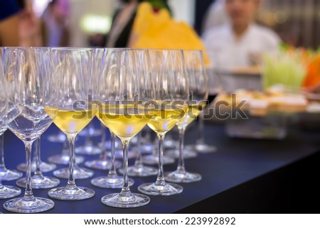 glasses waiting served on a party