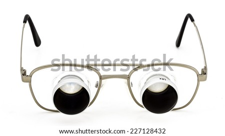 glasses with a loupe