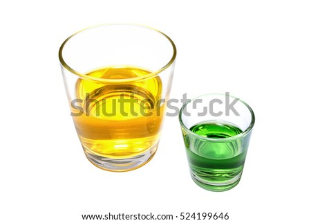 Glasses with a yellow and green drinks