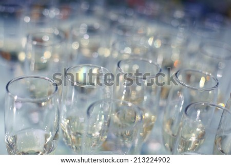 glasses with champagne alcohol cocktail banquet - stock photo