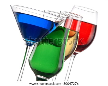 Glasses with color liquids horizontal