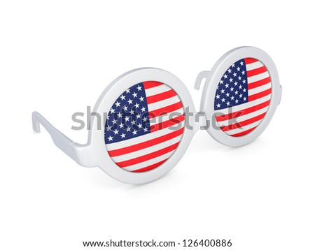 Glasses with flag of USA.