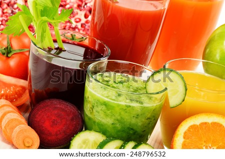 Glasses with fresh organic vegetable and fruit juices Detox diet. - stock photo