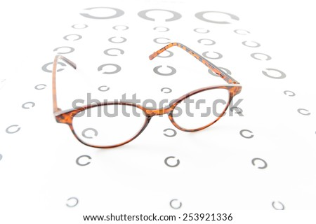 Glasses with Landolt ring chart - stock photo