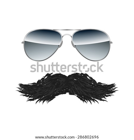 Glasses with Mustache isolated on white background illustration - stock photo