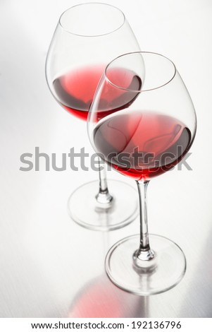 Glasses with red wine - stock photo