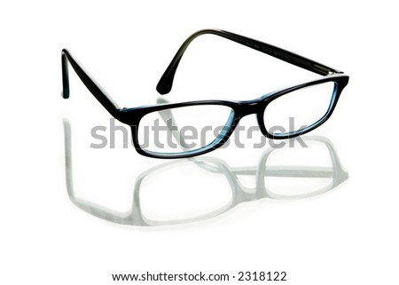Glasses with reflection on white background - stock photo