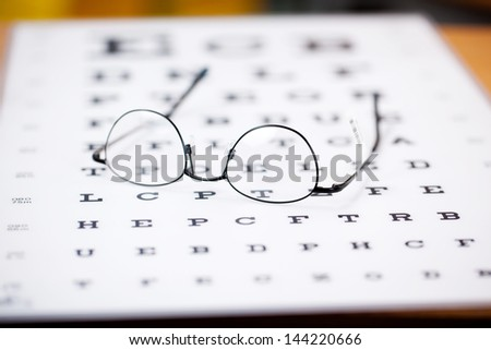 glasses with thin frame lying on eye test chart - stock photo