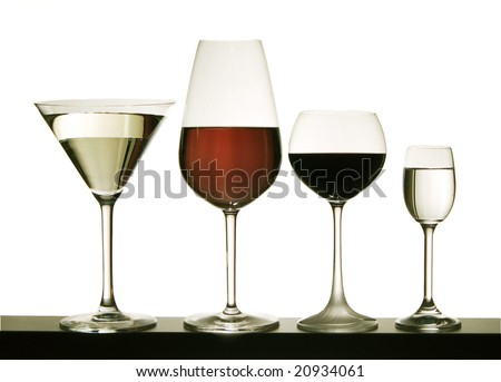 Glasses with wine on a white background