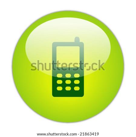 Glassy Green Mobile Phone Icon Button - stock photo