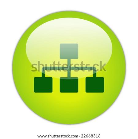Glassy Green Network Icon Button - stock photo