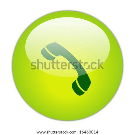 Glassy Green phone receiver Icon Button - stock photo
