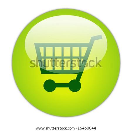 Glassy Green Shopping Cart Icon Button - stock photo