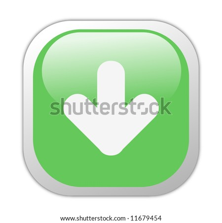 Glassy Green Square Download Icon Button - stock photo
